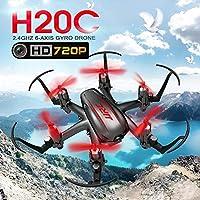 Springdoit 2.4Gリモートコントロール6軸飛行機無人機ヘッドレスモード無人機HDカメラRTFおもちゃの贈り物 - 黒赤