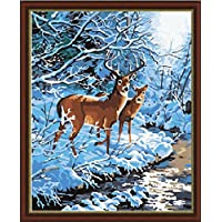 Diy oil painting, paint by number kit- Snowy Love Song 16*20 inch. by Colour Talk [並行輸入品]