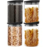 MIOCARO Glass Food Storage Containers Jar Plastic Lids 4 Packs 1000ml Airtight Canister Organization Sets Stackable