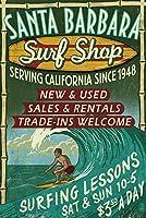 サンタバーバラ、カリフォルニア–Surf Shop Vintage Sign 12 x 18 Signed Art Print LANT-40906-708