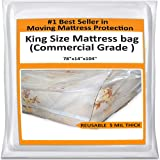 King Mattress Bag For Moving - Heavy Duty Cover Protector 5 Mil Thick - Reusable Storage Solution