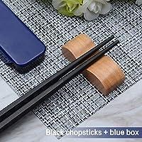 ポータブル寿司箸 旅行 ピクニック ブラック 箸セット 合金スタイル ボックス付き ギフトに ブルー