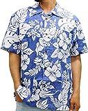 ROUSHATTE(ルーシャット) 大きいサイズ メンズ シャツ 半袖 アロハシャツ ロイヤルブルー LL