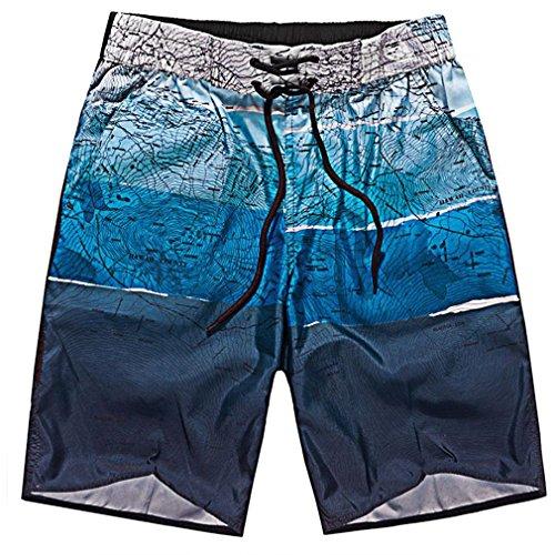YY-Shopメンズ水着サーフパンツ水陸両用海パンおしゃれ海水パンツサーフトランクス水泳マリンスポーツスイムウェア(L,1ブルー)