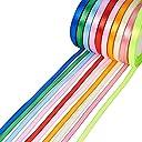 PandaHall ミックス 10巻き 片面 サテン リボン 10色 DIY用 手芸 雑貨 工芸品 飾り グログラン 6mm 約22m/巻き カラフル 手芸用品 アクセサリーパーツ 手作り