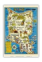"""オアフ島、ハワイ""""MEM-O-マップ"""" - 第二次世界大戦軍事記念碑マップ - ビンテージイラストマップ によって作成された ジョン・G・ドルリー c.1946 - アートポスター - 33cm x 48cm"""
