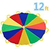 Sonyabecca Parachute 12 Foot for Kids with 12 Handles Play Parachute for 8 12 Kids Tent Cooperative Games Birthday Gift