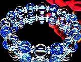 最高級AAA10mm数珠◇アクアオーラブルー×ブルークラック水晶(オーガンジーポーチ付き)【パワーストーンブレスレット】【天然石数珠】