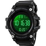 SKMEI Digital Watch for Men, Waterproof Military Watch with LED Backlight Chronograph Alarm, Black Big Face Sports Wrist Watc