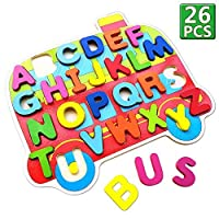 Alphabet Preschool木製Pegパズル( 26pc )学習教育Toys and Games for Kids Toddlers Baby Childrens Boys Girls Age 234年オールズモビル