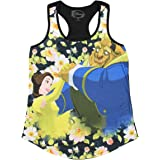 Disney Beauty and The Beast Floral Sublimation Girl's Tank Top (Medium) Black