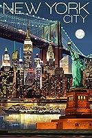 ニューヨーク市、ニューヨーク–夜のスカイライン 9 x 12 Art Print LANT-68790-9x12