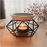 SXCHEN Delicate Romantic Ceramic Tealight Candle Holder Oil Burner, Essential Oil Incense Aroma Diffuser Furnace Home Decorat