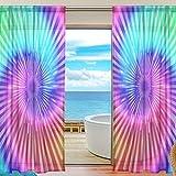 alirea Tie Dye色薄手カーテンパネルチュールポリエステルボイルウィンドウTreatmentパネルカーテンの寝室リビングルームホーム装飾、55x 78インチ、2パネルセット 55x84x2(in)
