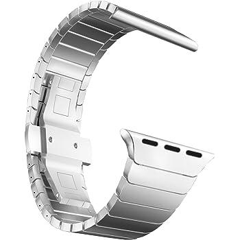 MaKer ステンレススチール リンクブレスレット バンドに対応しますApple Watch Series 4/3/2/1(44mm/42mm,シルバー)