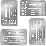 4 Pieces Erasing Shield Stainless Steel Drawing Template Shield Drafting Tools with 26 Openings or 27 Openings for Mechanical