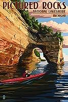(12 x 18 Art Print) - Pictured Rocks National Lakeshore, Michigan (12x18 Art Print, Wall Decor Travel Poster)