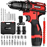 """Cordless Drill Driver Kit with 2 Batteries, WAKYME 12.6V Power Drill 30Nm 18+3 Clutch, 3/8"""" Keyless Chuck, Variable Speed & B"""