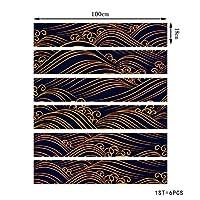 階段自己粘着性の壁紙暗い勾配の波のパターンの家の装飾3D取り外し可能なDIYのステップステッカー現代のHD防水階段の壁紙は、 (Color : B)