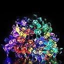イルミネーション 桜ソーラーストリングライト ソーラーライト LED電飾 防水 多彩カラー クリスマス 飾り 結婚式 パーティー用 6m 50LEDライト(マルチカラー)