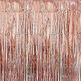 KATCHON リアルローズゴールド ホイルフリンジカーテン - 美しいメタリックティンセルローズゴールド 装飾と背景 誕生日パーティー ウェディング装飾 ブライダルシャワー ベビーシャワー 卒業パーティー用品