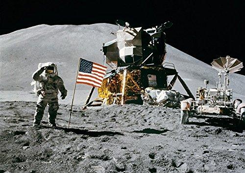 絵画風 壁紙ポスター (はがせるシール式) 月面着陸 アポロ15号 宇宙ステーション NASA 天体 キャラクロ NAS-010A2 (A2版 594mm×420mm) 建築用壁紙+耐候性塗料