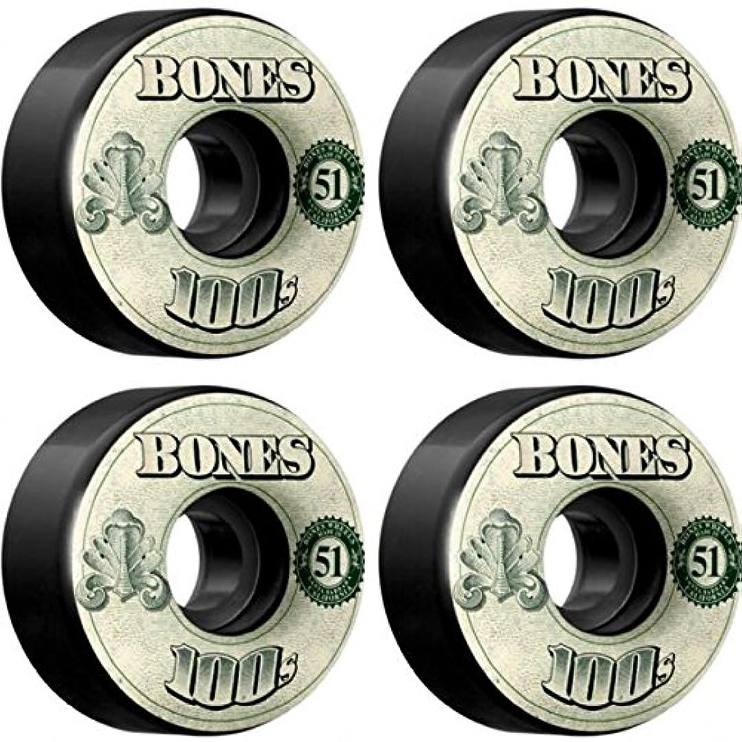 ライフルクロール排除するBones Wheels 100 's og Formula v4 Moneyブラックスケートボードホイール – 51 mm 100 A ( Set of 4 )