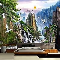 Xbwy 中国風の風景画壁の壁画日の出山の滝赤戴冠させたクレーンカスタム3D写真の壁紙リビングルーム-250X175Cm
