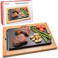 Grilling Stone for Tabletop- Hibachi Grill Stone Cooking Set (Family Size) with Stainless Steel Serving Tray and Bamboo Platter by Good Cooking