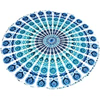 Fenteer ビーチ 遊び 寮 ホーム用 多用途 ファッション インド マンダラ ウォールハンギング タペストリー ベッドカバー 全4色  - ブルー
