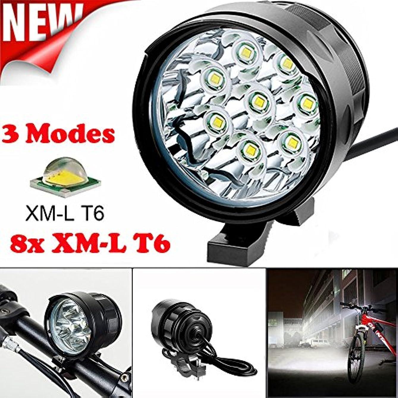 キャプチャーロープ空港TangQI 自転車用ライト LED 8x XM-L T6 LED 3モード 強力 最強 1 x 8.4V 15000mAhバッテリーパック 明るい 自転車アクセサリー シンプル 簡単に取り付け 軽量 高品質 頑丈 耐久性 他の自動車に注意される