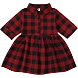 Toddler Baby Girl Christmas Plaid Dress Red Plaid Knee Length A-Line Dress Infant Xmas Clothes Party Dress Outfits