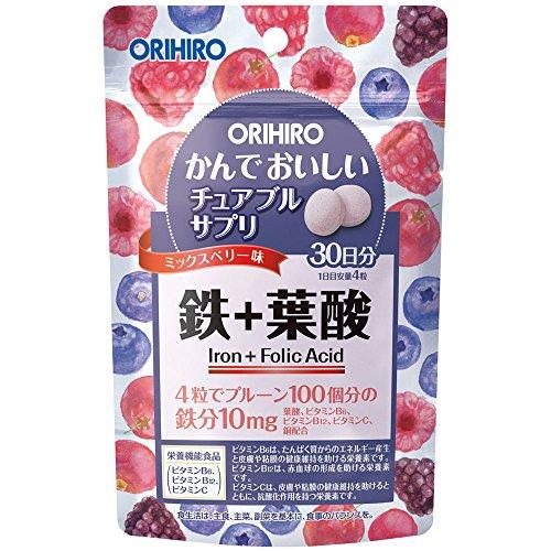 オリヒロ かんでおいしいチュアブルサプリ 鉄+葉酸 120粒