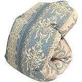 昭和西川 日本製 羽毛布団 シングル 150×210cm ハンガリー産ホワイトダウン90% 957柄 ブルー