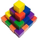 木製 ブロック 30個セット 知育 玩具 積み木 図形 算数 立方体 おもちゃ (02 カラフル 3㎝×3㎝)