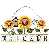 Attraction Design Vintage Sunflower Decor Welcome Sign for Front Door, Garden Themed Welcome Door Sign Hanging Metal Welcome