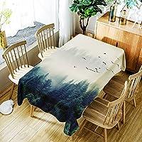 [テンカ]テーブルクロス テーブルカバー 食卓カバー かわいい 北欧 簡約 モダン 芸術 ホワイト 150*210cm