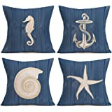 Asamour Vintage Wood Ocean Park Throw Pillow Case Anchor Marine Life Sea Horse Starfish Conch Decorative Cushion Cover Medite
