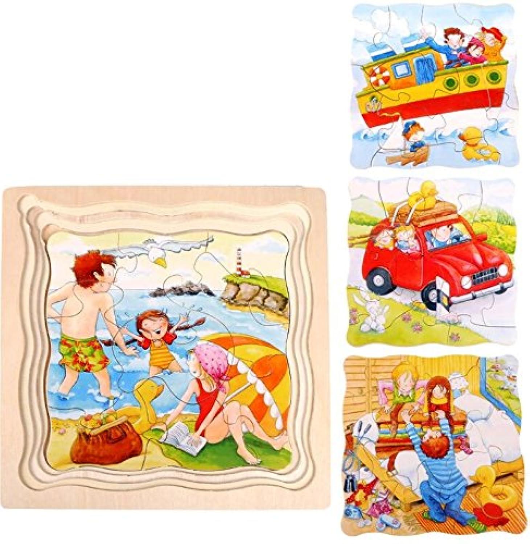 HuaQingPiJu-JP 創造的な木製の漫画の多層パズルアーリーラーニング番号の形の色の動物のおもちゃキッズのための素晴らしいギフト(旅行)