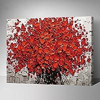 MADE4U [ガーデンシリーズ2] [50x40センチ] [木製フレーム] 数字キットによる絵画 DIY キャンバス、ブラシ、ペイントを含む (真っ赤な火) HHGZG431
