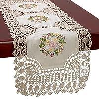 grelucgoハンドメイドかぎ針編みコットンレーステーブルランナーとドレッサースカーフ、リボン刺繍、rectangle18X 54cm rectangle 16*45 inch ベージュ