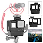 Artman Protective Housing Case Vlogging Frame Cage Mount with Microphone Cold Shoe Adapter Compatible for GoPro 7 6 5...