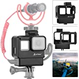 Artman Hero 7 Black Vlogging Case Protective Housing Frame Cage Mount with Microphone Cold Shoe Adapter Compatible with GoPro