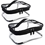 Wobe 2 Pack Portable Clear Makeup Bag Zipper Waterproof Cosmetics Bag Transparent Travel Storage Carry Pouch PVC Zippered Toi