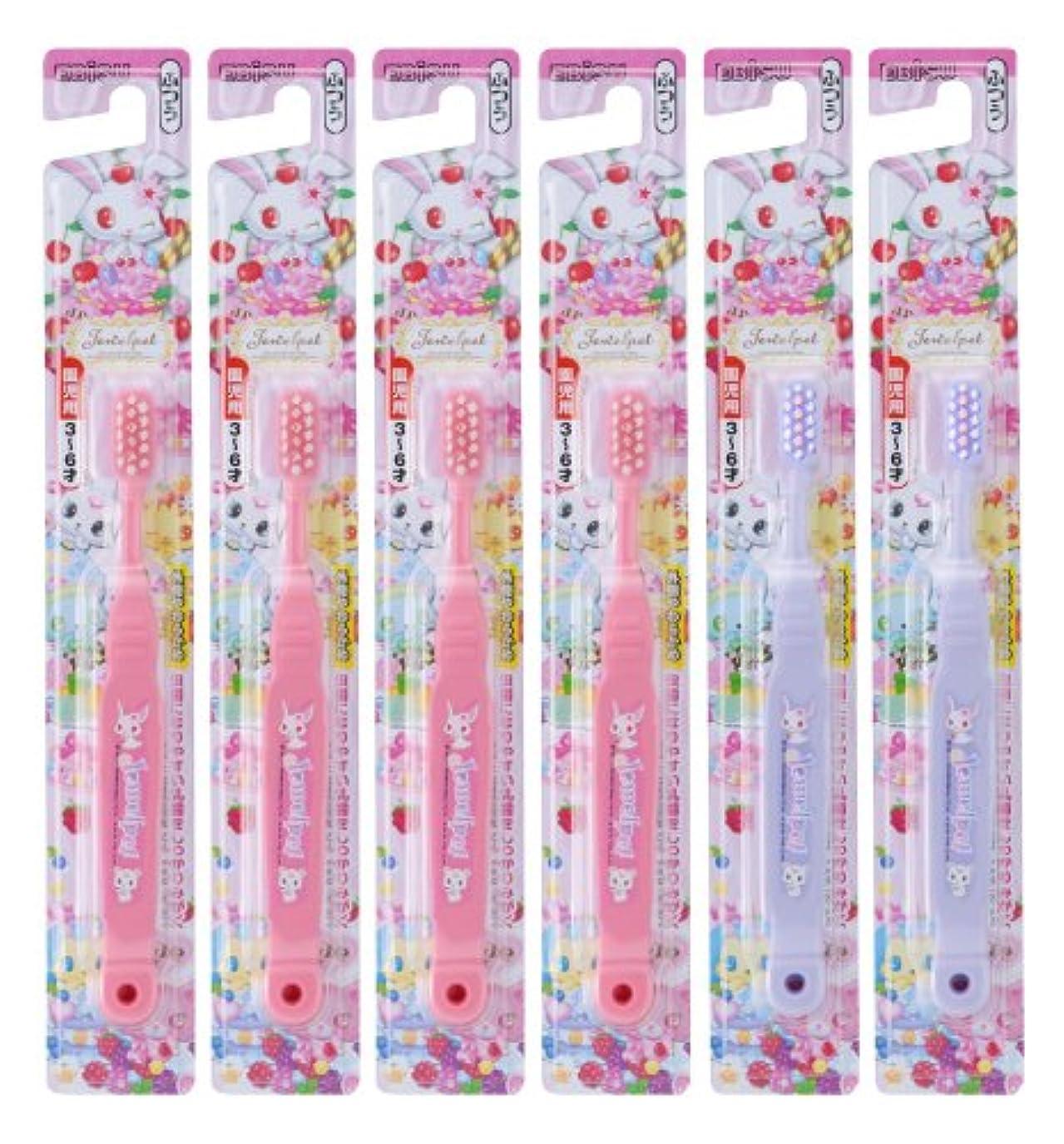 敷居コンピューターを使用するピンクエビス ジュエルペット ハブラシ 3~6才 6本組 (色おまかせ)