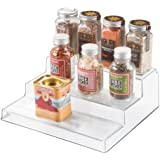 InterDesign Linus Spice Rack, Organizer for Kitchen Pantry, Cabinet, Countertops - 3-Tier, Clear