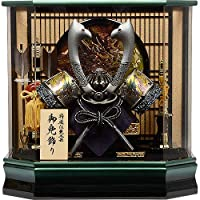 No.505-141 五月人形 コンパクト 六角 黒塗り ケース飾り アクリル 兜ケース
