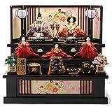 雅泉作 雛人形 三段飾り 収納飾り 五人飾り 雛浪漫 間口69.5×奥行55.5×高さ65cm h263-fzc-44-1339e