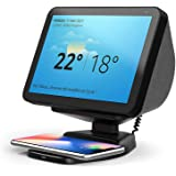 Echo Show 8 Stand with Wireless Charging, Adjustable Magnetic Mount Stand for Amazon Echo Show 8 with QI Phone Charging Pad -