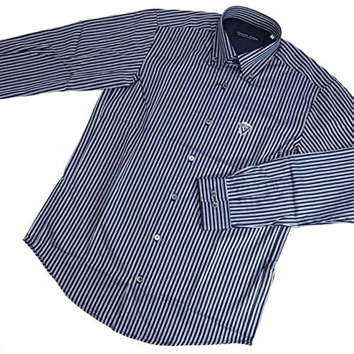 醜い不正直悲劇40271 秋冬 日本製 ボタンダウンシャツ 長袖 ストライプ 総柄 ネイビー(紺) サイズ 48(L) Vittorio Carini 紳士服 メンズ 男性用